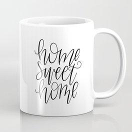 Home Sweet Home, Handlettered, Black and White, Farmhouse Coffee Mug