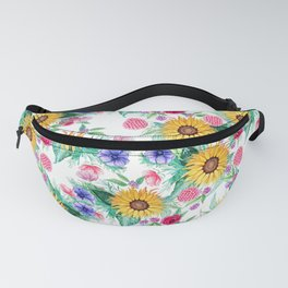 Sunflower, anemone, dahlia, rose and beauty berry watercolor floral Fanny Pack