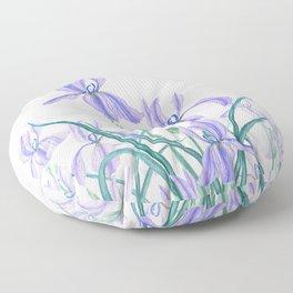 purple iris watercolor Floor Pillow