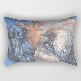 Border Terrier dog portrait art from an original painting by L.A.Shepard Rectangular Pillow