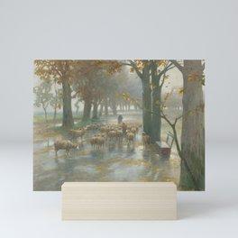 Flock Of Sheep With Shepherdess On A Rainy Day by Adolf Kaufmann Mini Art Print