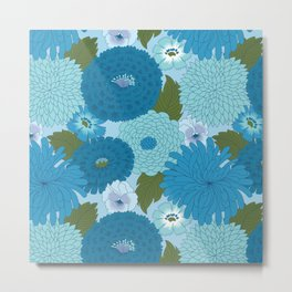 Retro Blue Floral Pattern Metal Print