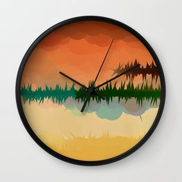 "Digital Abstract Landscape ""Minnesota Memories"" Wall Clock"
