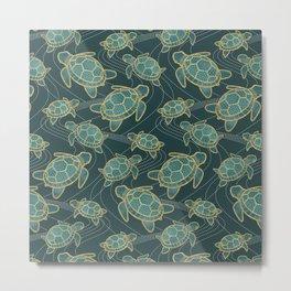 Japanese Pond Turtle / Teal Metal Print