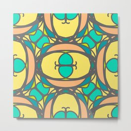 Multicolored decorative seamless pattern with mosaic ornaments Metal Print