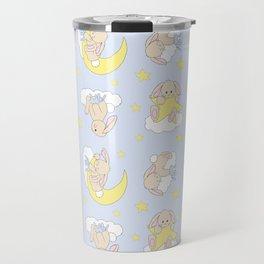 Bunny Moon Star Clouds Nursery Neutral Travel Mug