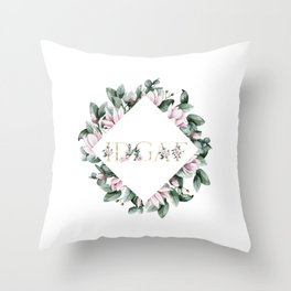 IDGAF pink flowers Throw Pillow