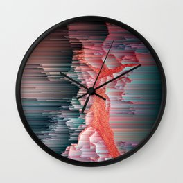 Glitched Out - Pixel Abstract Art Wall Clock