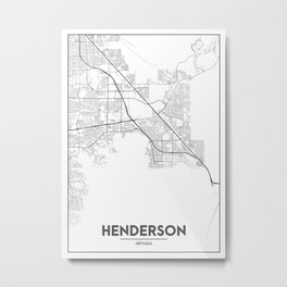 Minimal City Maps - Map Of Henderson, Nevada, United States Metal Print