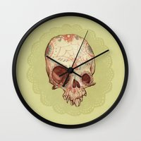 sugar skull Wall Clocks featuring Sugar Skull by Audrey Benjaminsen