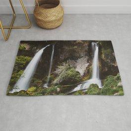 Twin Falls // Colorado Summer Waterfall Mountain Landscape Rug