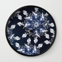 damask Wall Clocks featuring Damask blue by /CAM