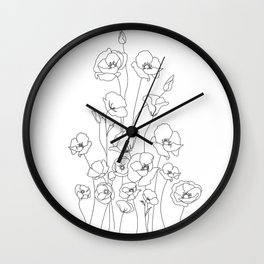 Poppy Flowers Line Art Wall Clock
