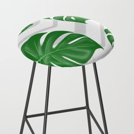 Monstera on chevrons Bar Stool