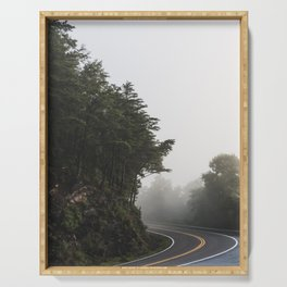 Roadway in Georgia #fog #nature #scene Serving Tray