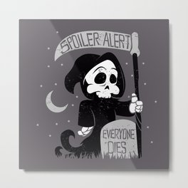 Cute cartoon grim reaper with scythe  Metal Print