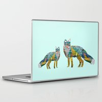 foxes Laptop & iPad Skins featuring Foxes by nessieness