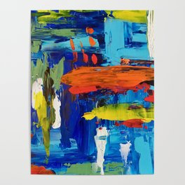 Contemporary Palette Knife Abstract Plaid Poster