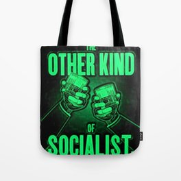 "Vintage ""The Other Kind of Socialist"" Alcoholic Lithograph Advertisement in bright green Tote Bag"