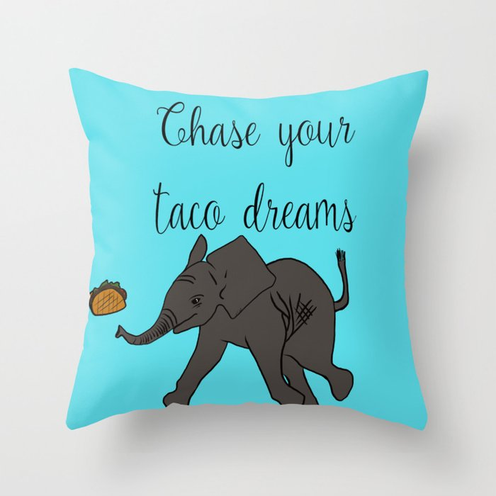 Baby Elephant Chase Your Taco Dreams! Throw Pillow