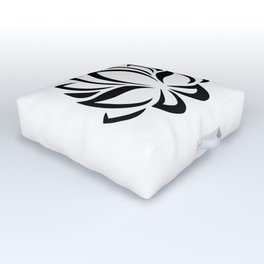 Black and White Lotus Flower Outdoor Floor Cushion