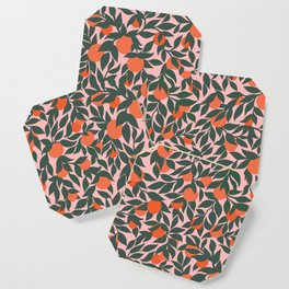 Oranges and Leaves Pattern - Pink Coaster