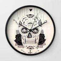 dia de los muertos Wall Clocks featuring Dia de los muertos by Thrashin
