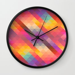 Abstract Colorful Decorative Squares Pattern Wall Clock