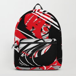 life silver white red black abstract geometric digital painting Backpack