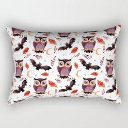 Owl & Bat Halloween Pattern Rectangular Pillow