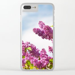 Lilac pink inflorescences grow in garden Clear iPhone Case