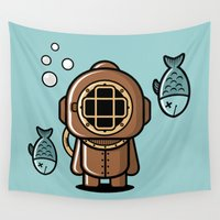 diver Wall Tapestries featuring Vintage Diver by m. arief (mochawalk)