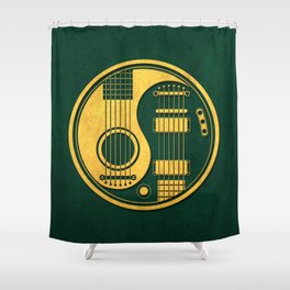 Vintage Green and Yellow Acoustic Electric Guitars Yin Yang Shower Curtain