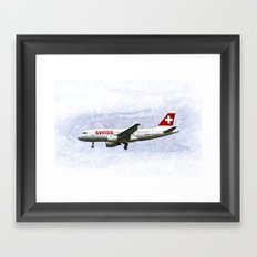 Swiss Airlines Airbus A319 Art Framed Art Print