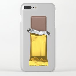 Chocolate candy bar in gold wrapper Clear iPhone Case