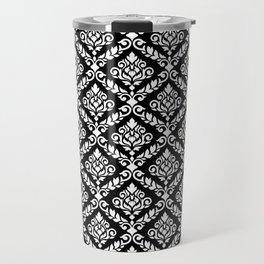 Prima Damask Pattern White on Black Travel Mug