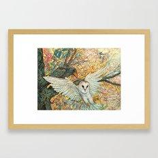 The Playground _ Raven, Owl, Chickadee Framed Art Print
