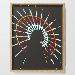Silhouette Of A Woman By A Ferris Wheel Serving Tray