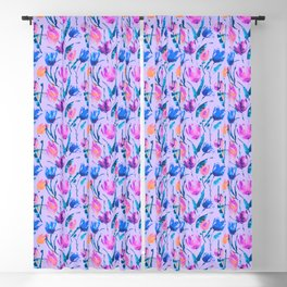 Tulip fever (floral seamless pattern in lilac, ultramarine, magenta, blue, orange colours) Blackout Curtain