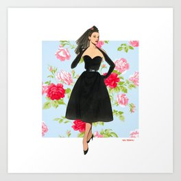 1950 Oblique-line Evening Dress Art Print