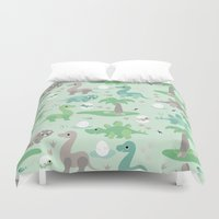 dinosaurs Duvet Covers featuring Baby dinosaurs by Heleen van Buul