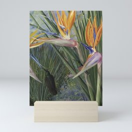 Bird of Paradise flowers and Hummingbirds still life painting Mini Art Print