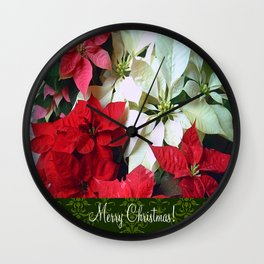 Mixed color Poinsettias 1 Merry Christmas S6F1 Wall Clock