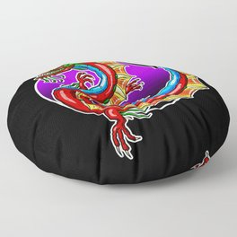 Chinese Dragon In The Moonlight - Black Background Floor Pillow