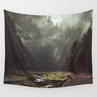 bianca green Wall Tapestries featuring Foggy Forest Creek by Kevin Russ