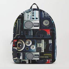 Vintage wall full of radio boombox of the 80s Backpack
