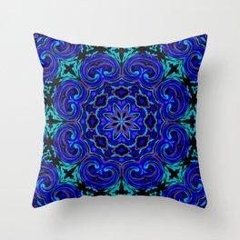 Bright Blue Kaleidoscope Throw Pillow