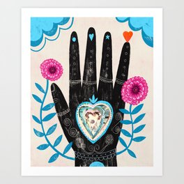 Heart in your hand Art Print
