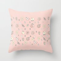 leah flores Throw Pillows featuring Flores by Tuky Waingan