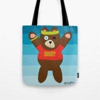 crossfit Tote Bags featuring Crossfit Bear  by Gabriel J Galvan